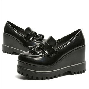 Shoes - Chunky Black Patent Spectator Shoes Size 6.5